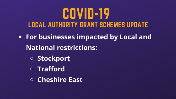 Stockport, Trafford and Cheshire East Local and National Support Grants